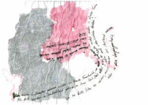 Sarahs Zeitreise, flächige Zeichnung der BRD und DDR Umrisse mit Notizen