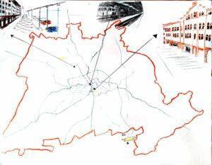 Torstens Karte der Stadt mit markanten Ortsskizzen
